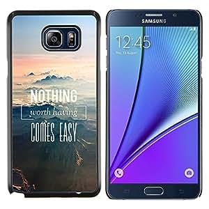 Caucho caso de Shell duro de la cubierta de accesorios de protección BY RAYDREAMMM - Samsung Galaxy Note 5 5th N9200 - Nada se Montañas Fácil Naturaleza