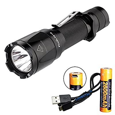 Fenix TK16 1000 Lumen Tactical LED Flashlight /w Instant Strobe, Fenix 2600mAH 18650 USB Rechargeable Battery and Lumen Tactical USB Charging Cable