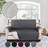 RHF Anti-slip Loveseat Cover for Leather Sofa, Pet Cover for Loveseat,Slip-Resistant Loveseat Slipcover&Protector for Dogs-Features Anti-slip Pad and Adjustable Strap(Loveseat: Darkgrey)