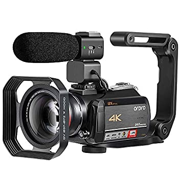 Image of 4K Video Camera Camcorder ORDRO HDR-AC5 Vlog Camera 12X Optical Lens 3.1'' IPS Ultra HD 1080P 60FPS Digital Camera Recorder WiFi Camcorders with Microphone Wide Angle Lens and Handheld Stabilizer Camcorders
