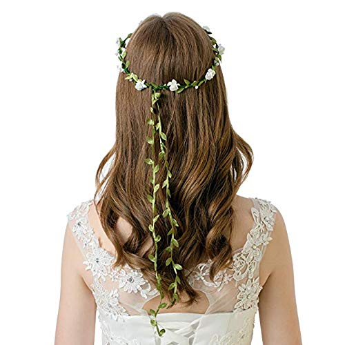 ZARRS Flower Headbands,10 Pack Floral Garland Headbands with Elastic Ribbons Rose Crown Head Band Women Girls for Festival Party Wedding Beach Hair Wreath Multicolor