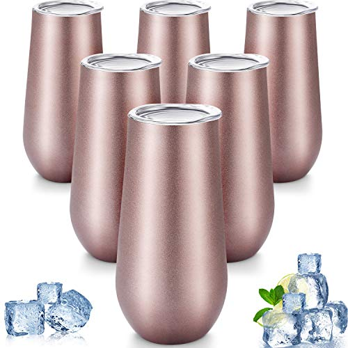 (6 Pieces Stemless Champagne Flutes Double-insulated Champagne Tumbler with Lips, 6 OZ Stainless Steel Unbreakable Cocktail Cups for Coffee Wine Glass Tumbler (6 Rose Gold) )