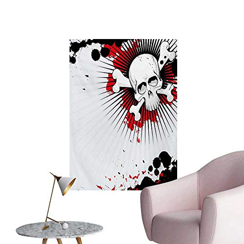 Anzhutwelve Halloween Wall Sticker Decals Skull with Crossed Bones Over Grunge Background Evil Scary Horror GraphicPearl Red Black W20 xL28 Art Poster -