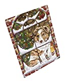 Please Come Home For Christmas Australian Shepherds Dog Sitting In Window Art Portrait Print Woven Throw Sherpa Plush Fleece Blanket (50x60 Sherpa)