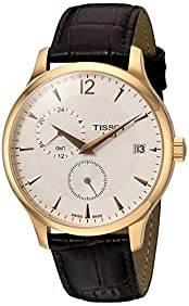 Tissot Men's 'Tradition' Swiss Quartz Stainless Steel and Leather, Color:Brown (Model: T0636393603700)
