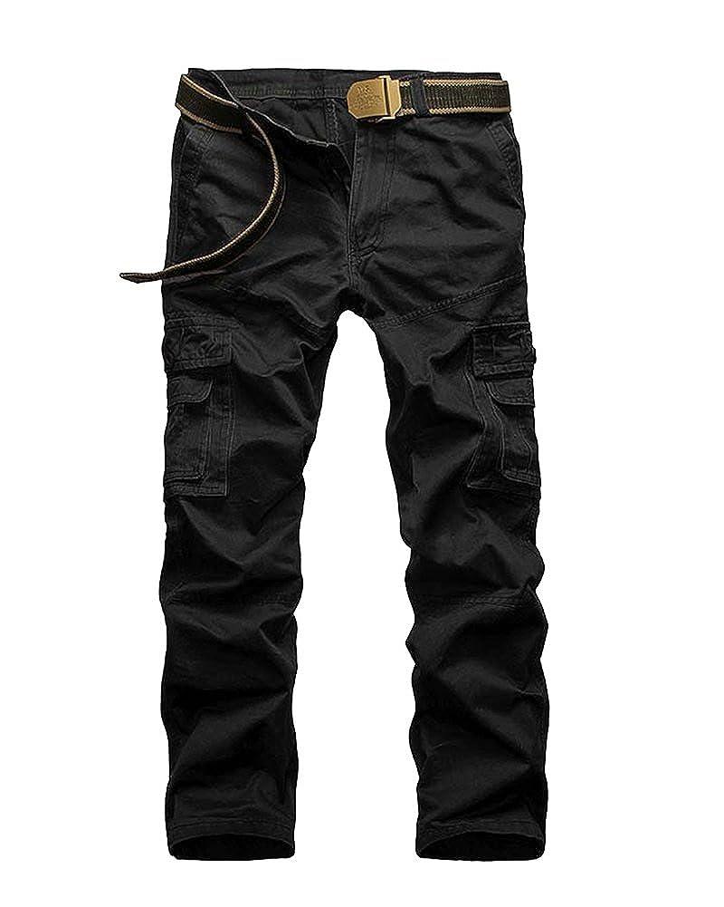 Hombres Pantalones Largos Cargo Trousers Múltiples Bolsillos Pants De Trabajo Militar Casual