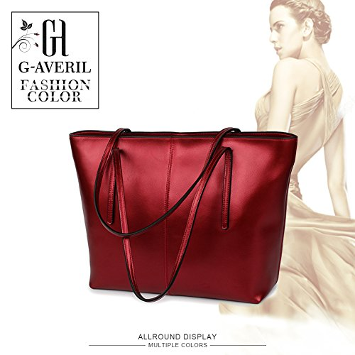 Genuine Engraved Shopping Red G Bag bolso Woman averil Bag Skin Leather Auténtica qpwvXfwxa
