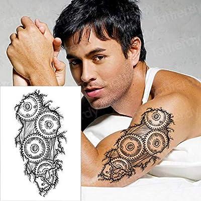 3pcsTatuaje Maquinaria 3D Halloween Tatuaje Hombre Brazo Hombro ...