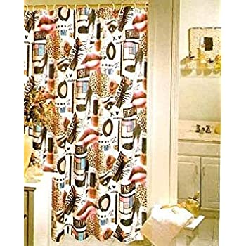 Amazon Diva Leopard Fashionista Makeup Fabric Shower Curtain