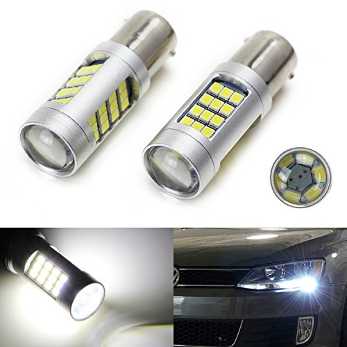 iJDMTOY (2) HID Matching 6000K White 42-SMD 1156 7506 LED Replacement Bulbs 2011-2017 Volkswagen Jetta Daytime Running Lights, DRL