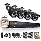 Anlapus 8-Channel HD 720p Security Camera System DVR with 1 TB Hard Drive and 4 x 720p 1.0 Megapixel Indoor Outdoor Weatherproof CCTV Bullet Cameras with Mental Housing and IR Night Vision
