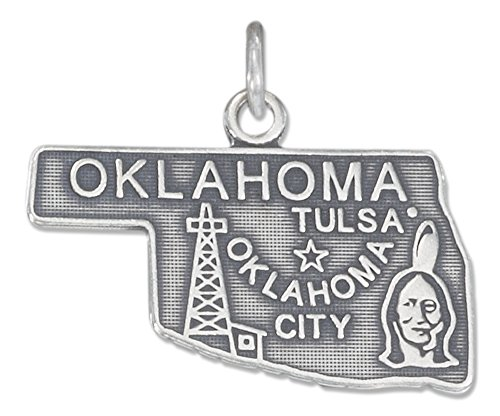 Sterling Silver Antiqued Oklahoma State Charm by 100Silver