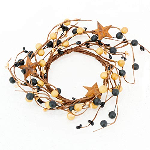 (Berry Metal Star Candle Ring Mini Wreath - Country Primitive Small Floral Decor - Black and Old Gold)