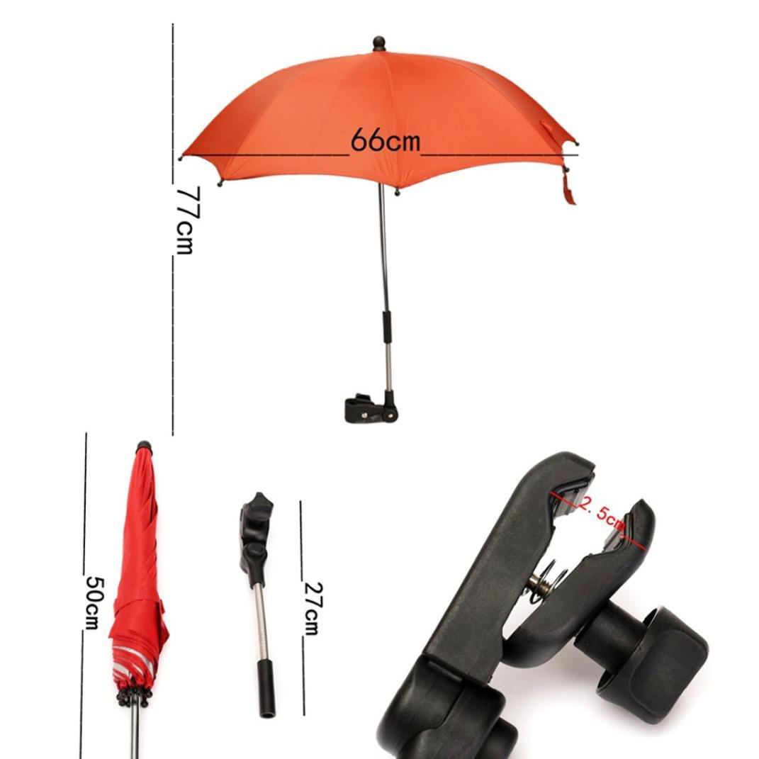 Hongxin Baby Car Umbrella, Stroller Umbrella Pink Sun Shade Kids Pram Shade Parasol Adjustable Folding For Baby Carriage Accessories Baby Cart Umbrella (Black) by Hongxin (Image #6)