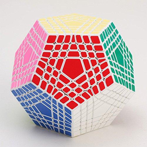 FunnyGoo Shengshou 7x7x12 megaminx dodecaedro cubo 7x7 12 superficie gigaminx magic speed cube twist magico giocattolo cubo con un supporto cubo ( bianco )