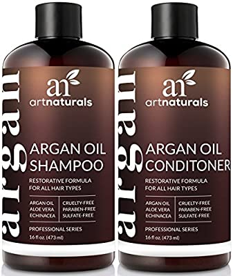 Cheapest Art Naturals Organic Moroccan Argan Oil Shampoo and Conditioner Set (2 x 16 Oz) - Sulfate Free - Volumizing & Moisturizing, Gentle on Curly & Color Treated Hair,For Men & Women Infused with Keratin from ArtNaturals - Free Shipping Available