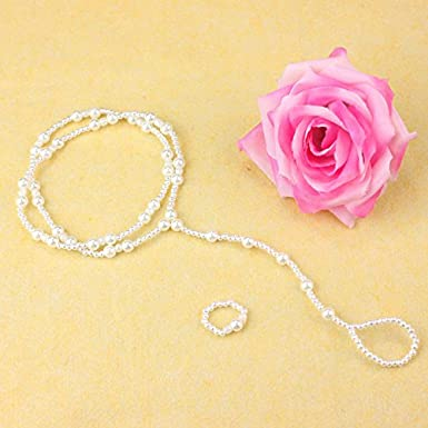 Ladies Delicate Shiny Pearl Beading Anklet Bracelet Jewelry XVSSAA Womens Summer Beach Foot Chain