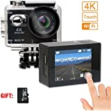 SHISHUO Action Camera 2 Inch Touch Screen 4K WiFi Waterproof Sports Cam 12MP 170 Degree Wide Angle and Accessories Kits(16 GB Micro SD Card included)