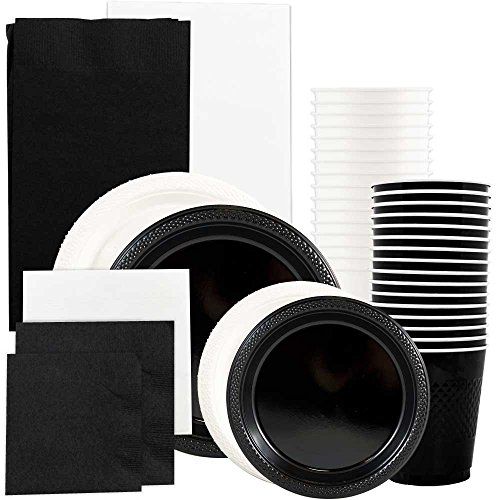 JAM Paper Party Supply Assortment - Black & White Grad Pack - Plates (2 Sizes), Napkins (2 Sizes) , Cups & Tablecloths - 12/pack