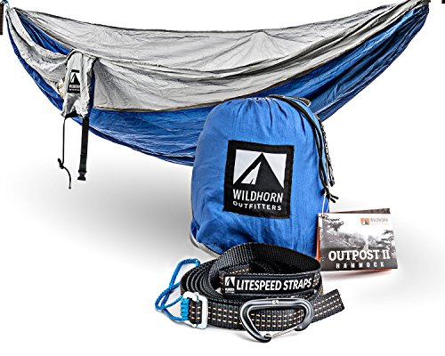 - WildHorn Outfitters Outpost Double/Single Camping Hammock with 11' Tree Straps - 100% Parachute Nylon - Cinch Buckle Design, No Knots Required - Easiest Hammock to Hang