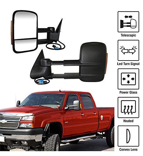 2003-2006 Chevy Silverado / GMC Sierra Towing Mirrors Pair Set Power Heated Glass With Convex Lens Telescoping LED