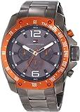 Tommy Hilfiger Men's 1790869 Sport Grey Ion-Plated Orange Bezel Multi-Function Bracelet Watch