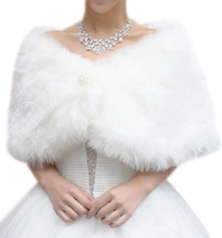 Womens White Faux Fur Bridal Wrap Stole Shawl Cape Wedding Artificial Pearl Ball Embellishment Winter Jacket Coat Shrug Amazon Co Uk Kitchen Home