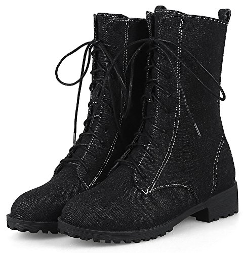 Mid Pointed Retro Boots IDIFU Women's Black Toe With Lace Heels Up Denim Calf IpqZYq