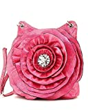 Pink Raised Flower Rhinestone Hipster Cross Body Bag, Bags Central