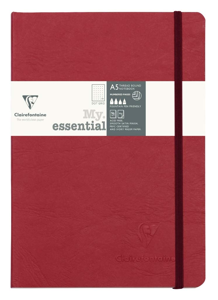 Clairefontaine My Essential Paginated Notebook 5.8'' x 8.3'' (A5), Dot Grid, Red