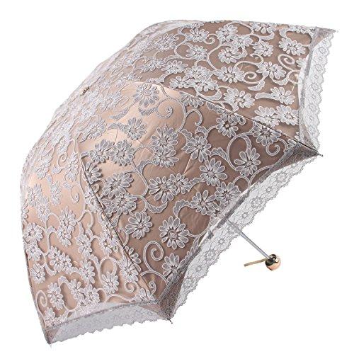 Honeystore Lace Travel Parasol Folding Anti-uv Windproof Embroidery Umbrella 3 Folding Grey