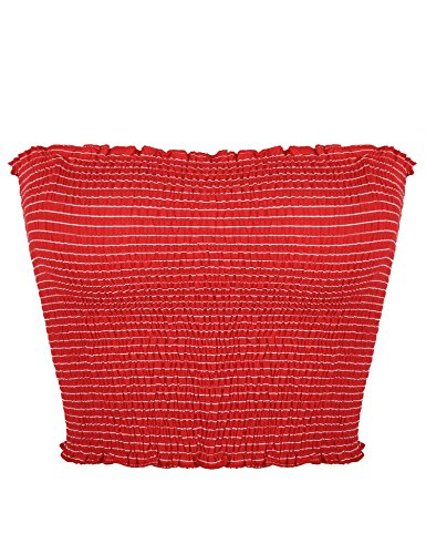(Sweetbei J Womens Strapless Pleated Summer Sexy Bandeau Tube Crop Tops Stripe-Red M)