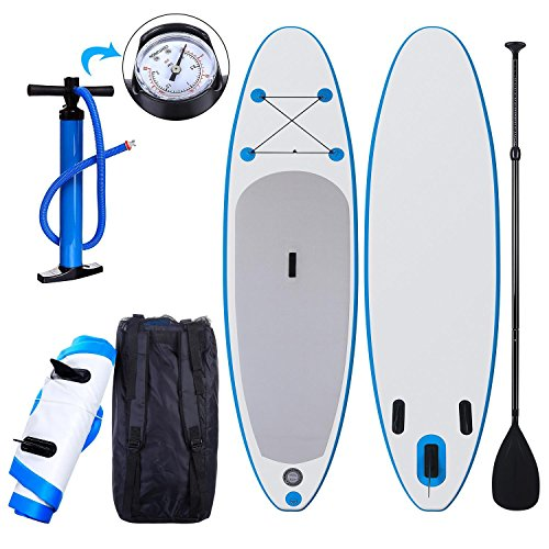 Rampmu Inflatable Longboard, Single-layer Surfboard with Adjustable Paddle [US Stock]