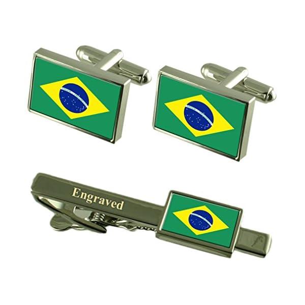Brazil-Flag-Cufflinks-Engraved-Tie-Clip-Matching-Box-Set