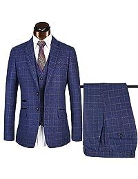 Mens Plaid Suit 3 Piece business suit set Jacket+Pants+Vest