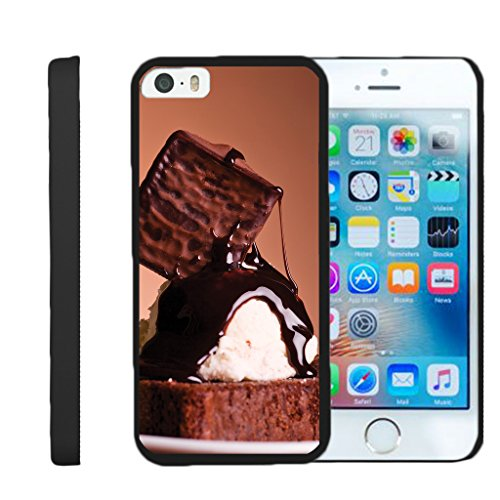 (TurtleArmor | Compatible for Apple iPhone SE Case | iPhone 5/5s Case [Slim Duo] Hard Compact Light Rubberized Cover Shell on Black Food Image - Hot Fudge Sundae)