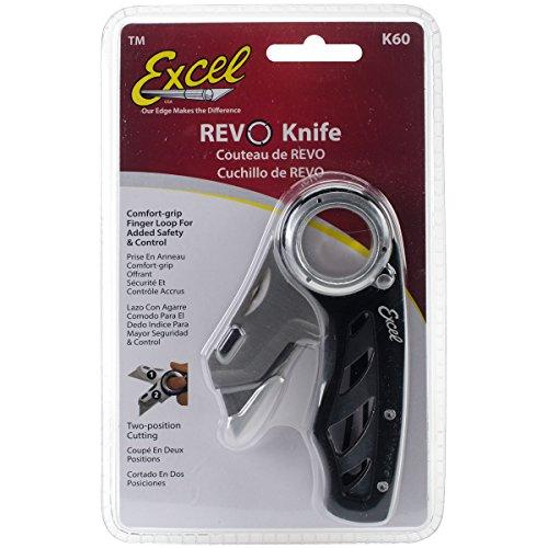 Excel Blades K60 Revo Utility, Folding Box Cutter Knife, Black