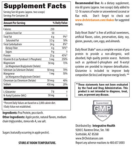 Dr. Christianson Daily Reset Shake, Vanilla Pea Protein Powder (3.7 lbs, 28 Servings) by Dr Christianson (Image #4)