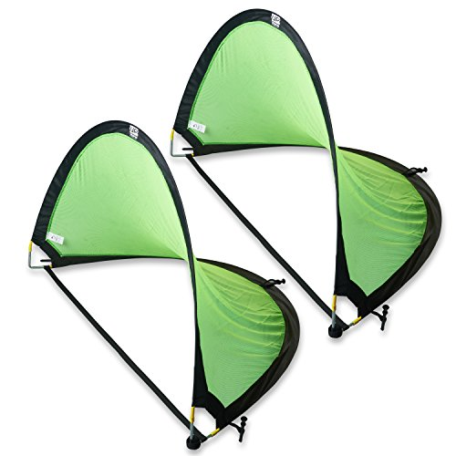 Pop Up Soccer Goal Pair (Green and Black, 4 feet) with Carry Bag - Unlimited Potential