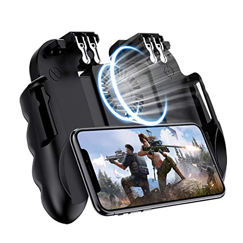 EMISH Mobile Game Controller Gamepad with Power Bank and Cooling Fan Trigger Aim Button L1R1 L2R2 Shoot Joystick for 4.7…