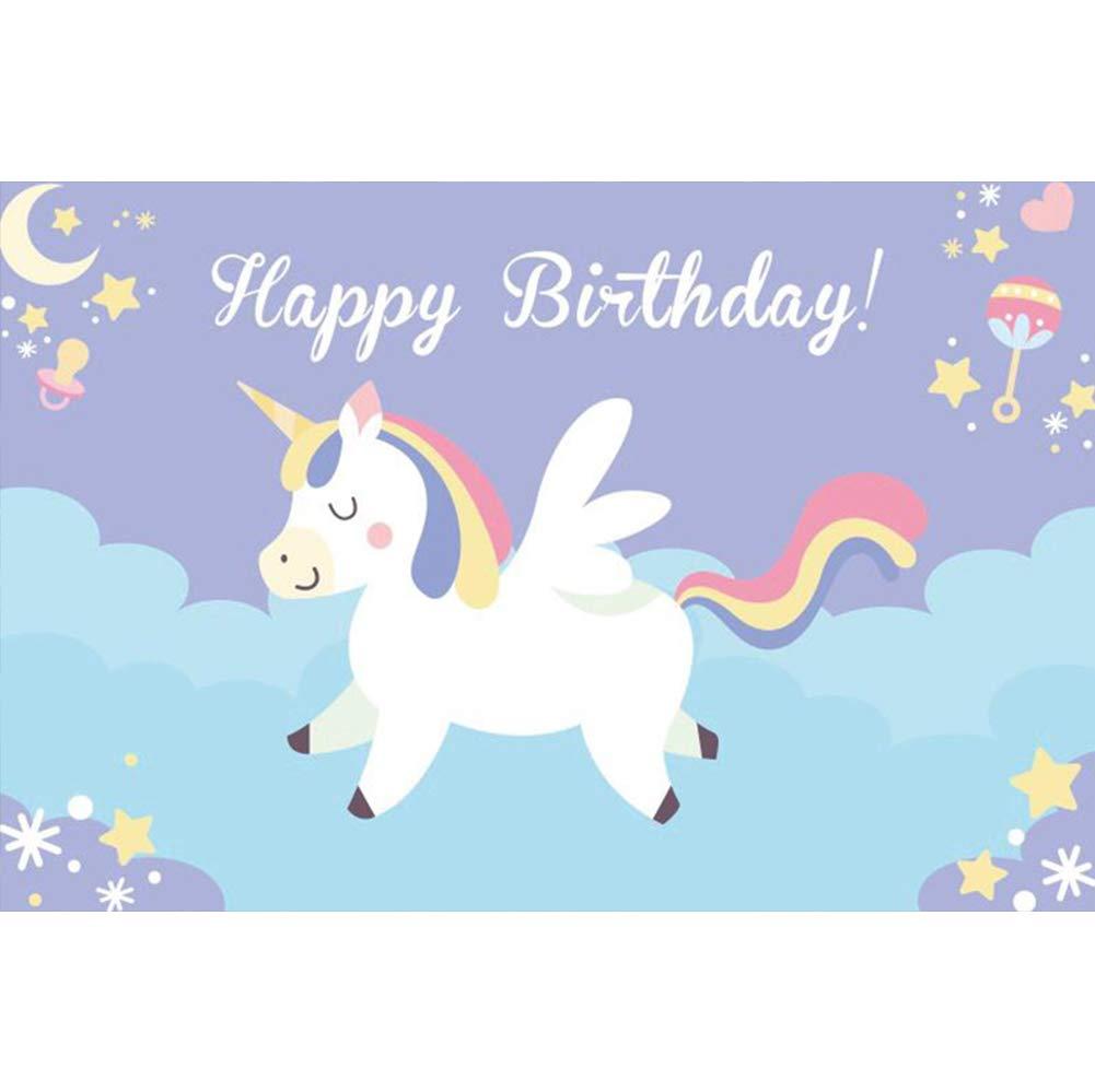 Cassisy 2,2x1,5m Vinilo Fondo de Fotografia Feliz cumpleaños Bandera Unicornio de Dibujos Animados Estrellas Vista Nocturna Chupete Telón de Fondo ...