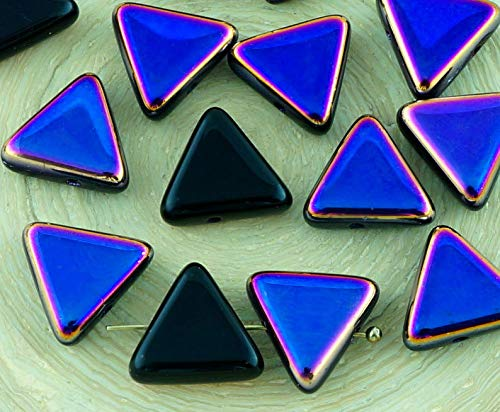 12pcs Opaque Jet Black Metallic Sliperit Iris Gold Purple Half Flat Large Triangle Focal Pendant Czech Glass Beads 10mm]()