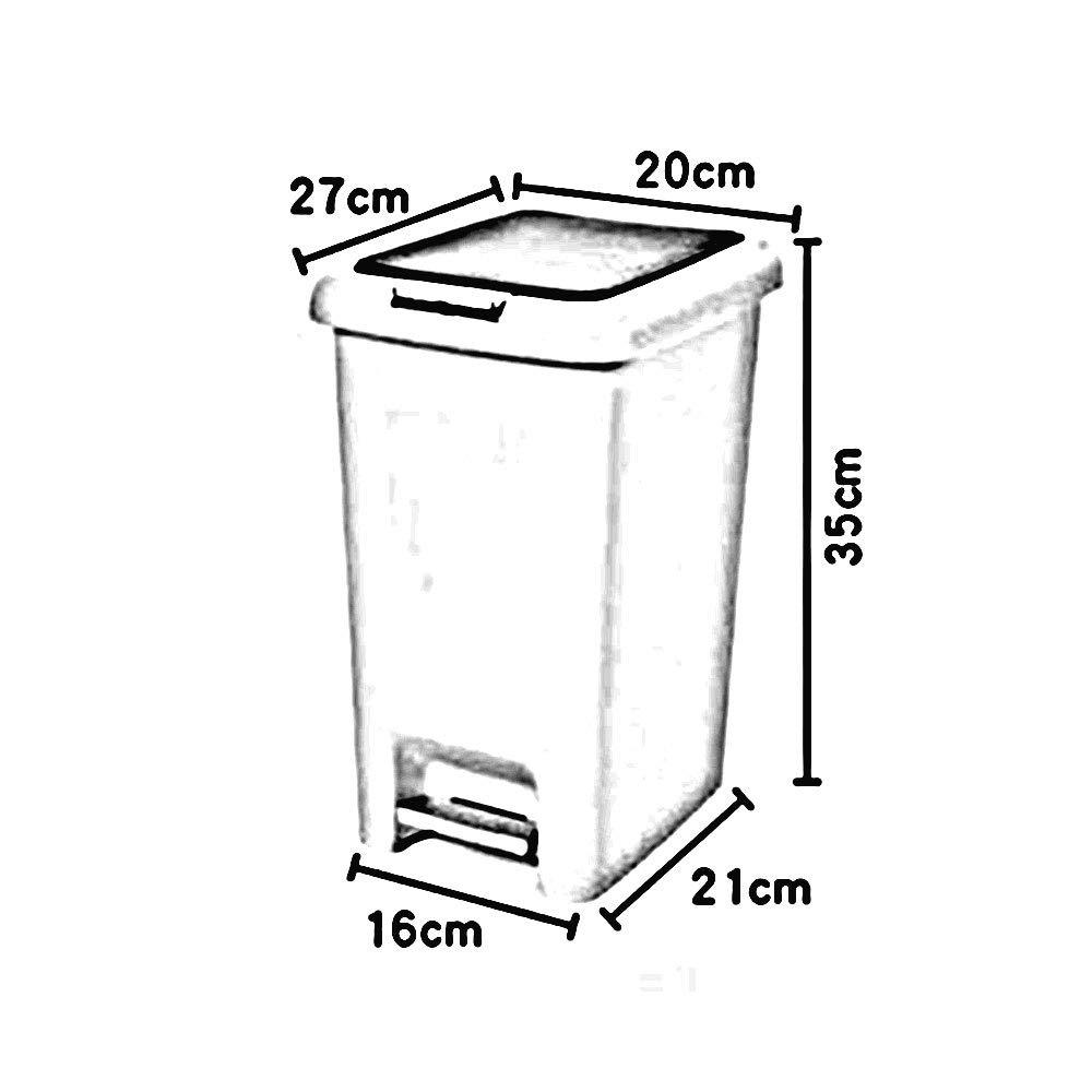 LJHA lajitong Bote de Basura, casa Pedal de casa Basura, de plástico de Gran tamaño Sala de Estar baño Cuarto de baño Basura (Color : Blanco Crema, Tamaño : 18.5  24  40cm) 7764bd