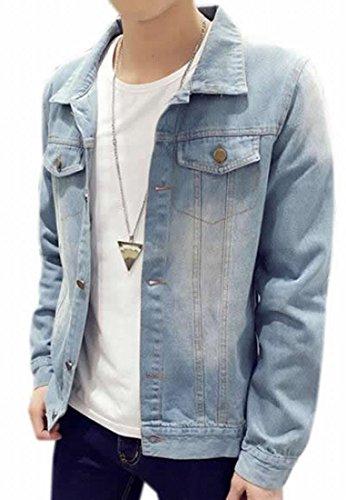 [Fulok Men's Classical Slim Rugged Wear Cowboy Coat Denim Jacket Light Blue XXL] (Mens Denim Jacket Coat)