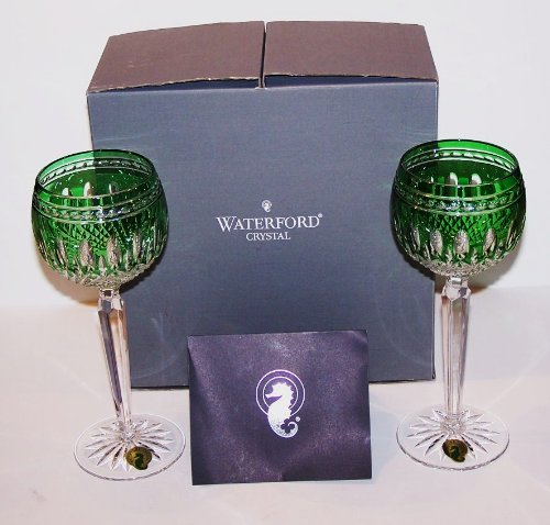 Waterford Crystal Clarendon Emerald Green Pair of Wine Hock Glasses by Waterford