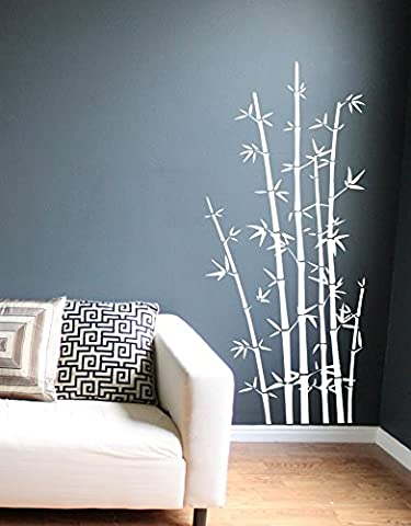 Bamboo Wall Decals Art Sticker Mural Home Decor (White) - Bamboo Wall Decals