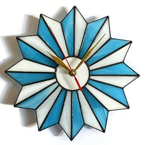 ZangerGlass Mid Century Modern Stained Glass Starburst Wall Clock Blue White in 2 sizes 10 14 Inch