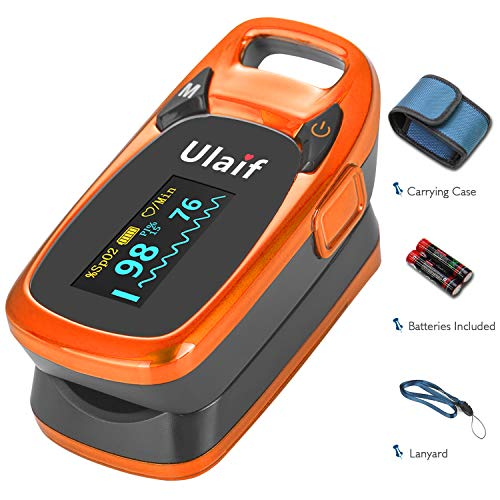 (Ulaif Fingertip Pulse Oximeter, OLED Portable Oximetry Blood Oxygen Saturation Monitor SpO2 Finger Pulse Oximeter Readings with Carrying Case/Lanyard/Silicon Case/Batteries)