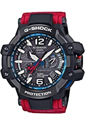 Casio G Series GPW1000RD-4A Black / Red Resin Analog Tough Solar Rechargeable Battery Men's Watch