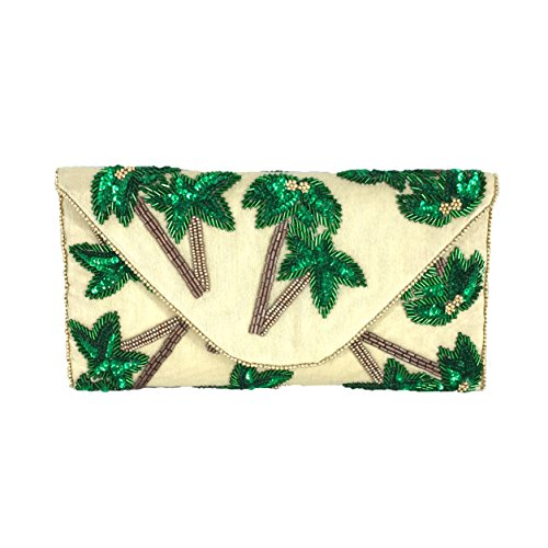 From St Xavier Tropica Palm Tree Beaded Convertible Clutch, Cream/Green (Palm Tree Purse)